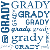 custom name grady fabric - blue