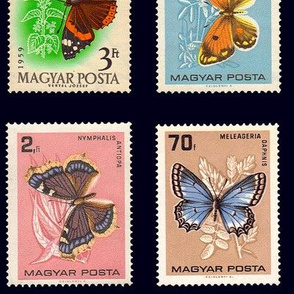 butterfly postage stamps from Hungary, extra-large  on black