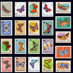 butterfly postage stamps from Hungary, life-sized on black