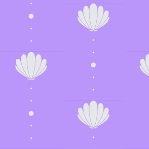 Oysters and Pearls - Light Grey on Lavender