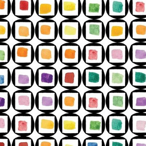 Watercolor Rainbow Rounded Squares