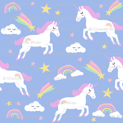 Unicorn bright colors fabric rainbow clouds stars cute for Pastel galaxy fabric
