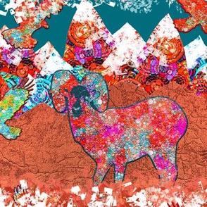 GOLDEN HOUR MOUNTAIN ANIMALS BIGHORN SHEEP TEAL COPPER RUST