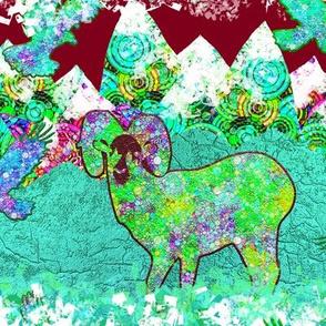 GOLDEN HOUR MOUNTAIN ANIMALS BIGHORN SHEEP  AQUA BURGUNDY TURQUOISE