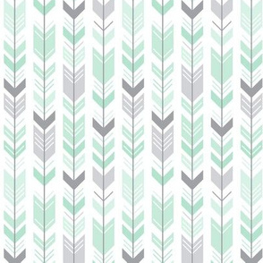 herringbone arrows mint green