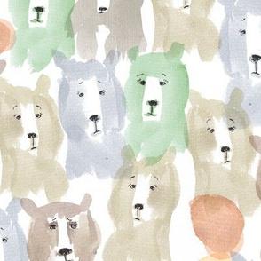 watercolor mountain bear fabric