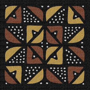 Mudcloth Inspired Bordered 8 Pointed Star