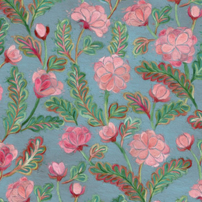 Soft Smudgy Pink and Green Floral Pattern Large