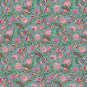 Soft Smudgy Pink and Green Floral Pattern Small