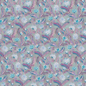 Soft Smudgy Blue and Purple Floral Pattern Small