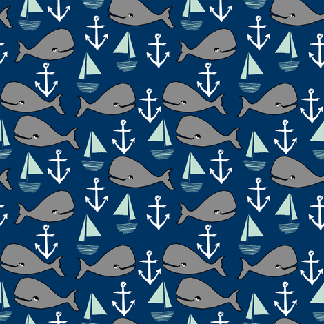 Nautical whales navy mint and grey nursery fabric for Nautical nursery fabric