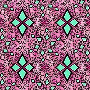 Project 260 | Zentangle Diamonds | Green on Pink