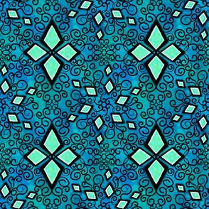 Project 260 | Zentangle Diamonds | Green on Blue
