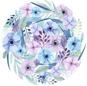 Watercolour flowers play mat roundie DIY
