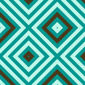 Op Art squares in turquoise, chocolate, pale blue by Su_G