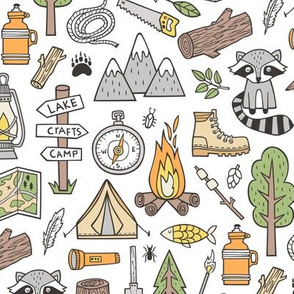 Outdoors Camping Woodland Doodle with Campfire, Raccoon, Mountains, Trees, Logs on White