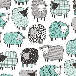 Sheep Geometric Patterned Black & White Grey  Mint Green on White