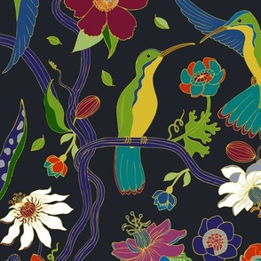 Hummingbirds and Passion flowers - cloisonne