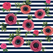 watercolor floral / nautical stripe
