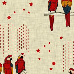 Macaws (red on linen background)