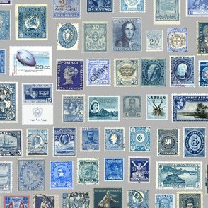 Blue stamp collection: international stamps on neutral grey