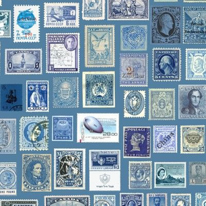 blue stamp collection: international stamps on cadet blue
