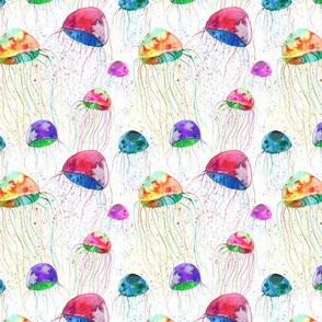 watercolor colorful jellyfish