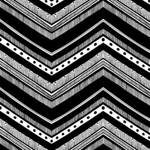Doodle Chevron - Black and White