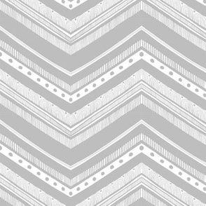 Doodle Chevron - Gray and White