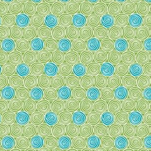 Doodle Spirals - Sewing Swatches Green with Turquoise Dots