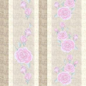 Old Fashioned Rose Stripe Light Pink