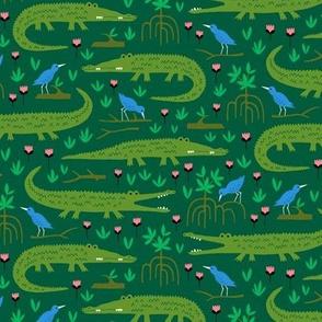 Amazon rainforest crocodile and blue bird (small)