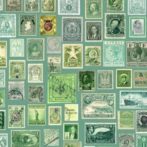 green stamp collection: international stamps on soft green