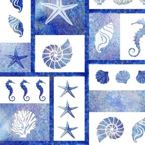 coral reef mosaic in blue