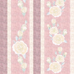 Old Fashioned Cream Rose Stripe