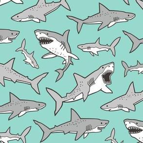 Sharks Shark Grey on Mint Green