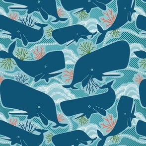 Aquatic Life - Nautical Ocean Whales Blue