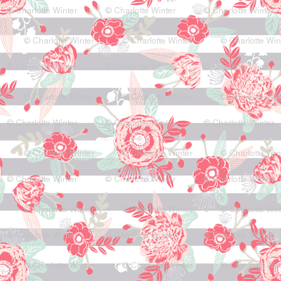 Florals nursery fabric pink and grey fabric fabric for Pink and grey nursery fabric