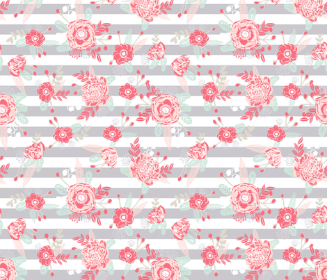 Florals nursery fabric pink and grey fabric wallpaper for Pink and grey nursery fabric