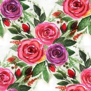 Watercolor . Roses .