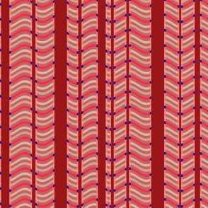 Red and Pink Stripes and Waves