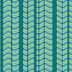 Teal and Green Stripes and Waves