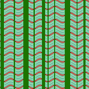 Green and Red Stripes and Waves