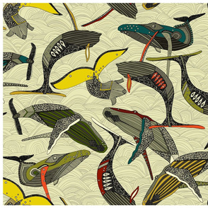 whales and waves bold tea towel