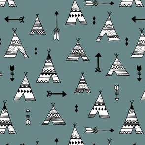 Trendy teepee and indian summer arrow illustration geometric aztec print in stone blue