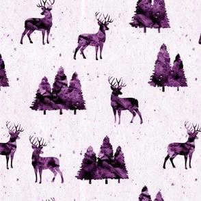 bucks on purple || watercolor woodland fabric