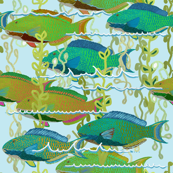 Parrotfish + sea fronds by Su_G