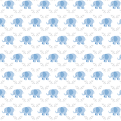 elephants in a row MINI - blue gray leaves