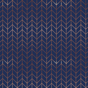 navy blue chevron fabric rose gold metallic effect