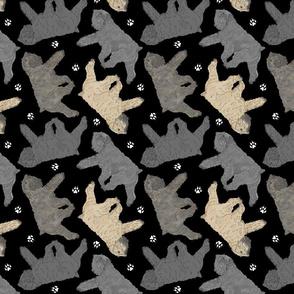 Trotting Bouvier des Flandres and paw prints B - black
